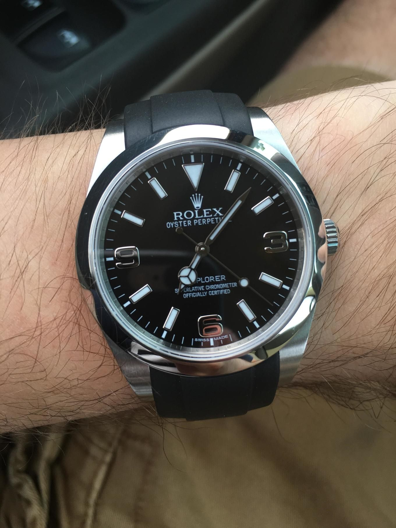 Rolex Explorer 1 with Everest,brand black rubber strap. in