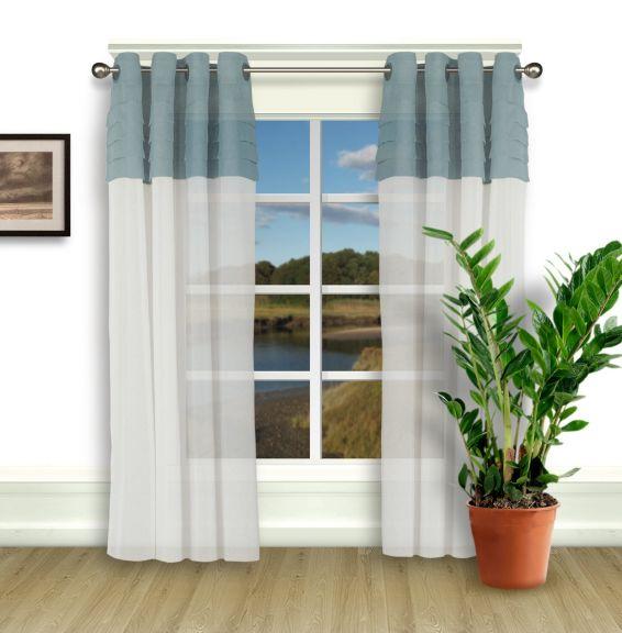 Geneva Semi Sheer Two Tone Grommet Panel Sheer Curtain Panels