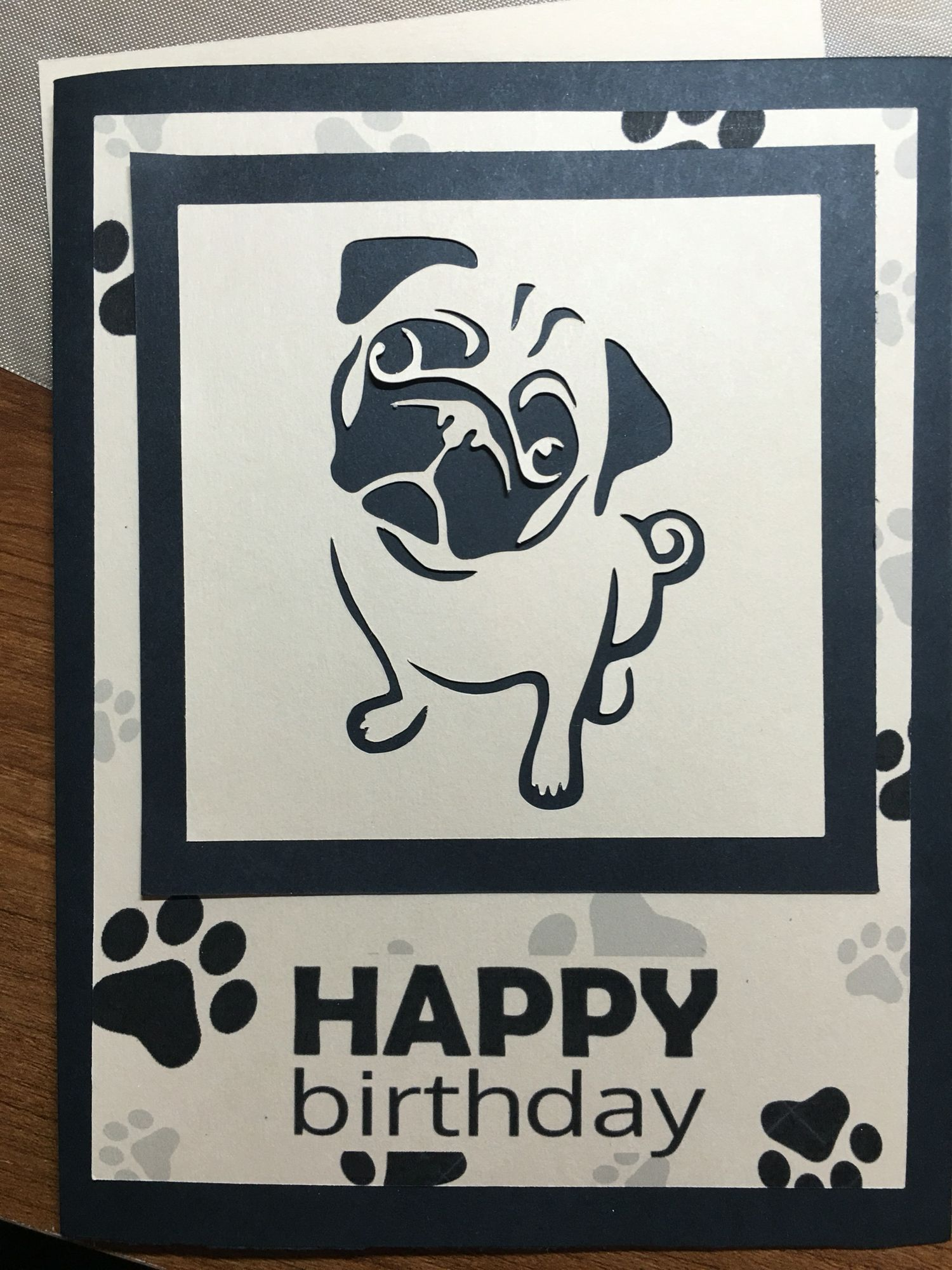 Pug Birthday Card converted stencil design for Silhouette. If you are interested in the svg file, just message me. by: Suza… - Pug birthday, Stencil designs, Cards