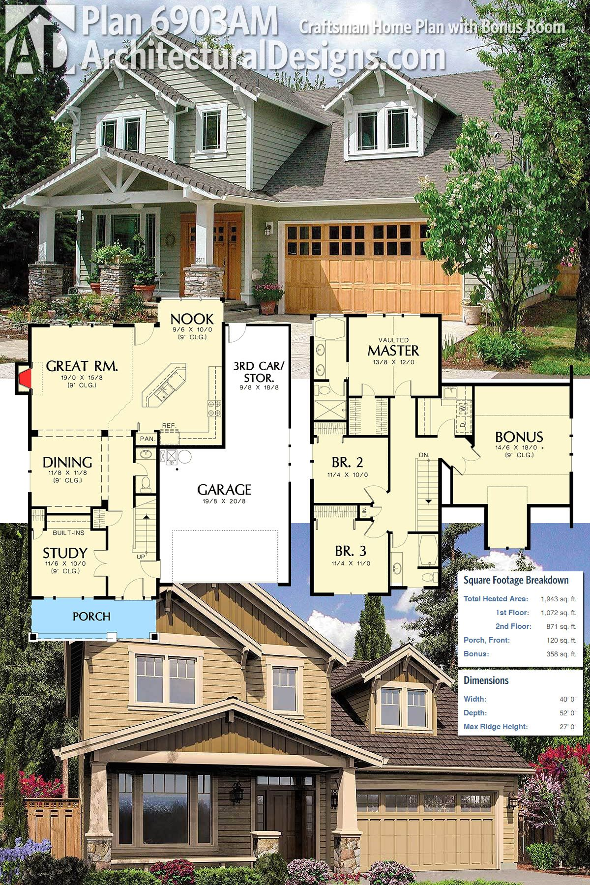 Plan 6903am Craftsman Home Plan With Bonus Room Craftsman House Plans House Plans Sims House Plans