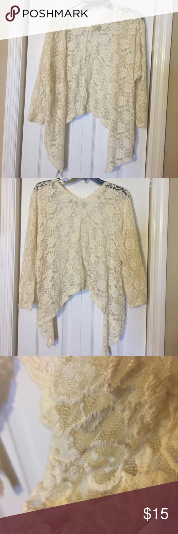 Daytrip asymmetrical lacey cardigan | White lace