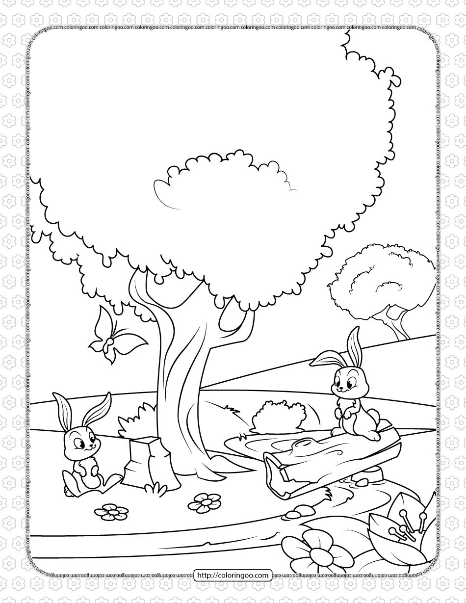 Printable Rabbits In The Spring Coloring Page In 2021 Forest Coloring Pages Spring Coloring Pages Cool Coloring Pages