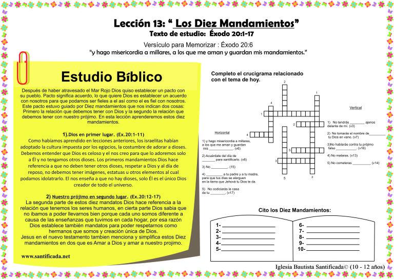 Iglesia De Niños Dios Ama A Los Niños Página 2 Iglesia Niños Exodo 20 Exodo 20 12