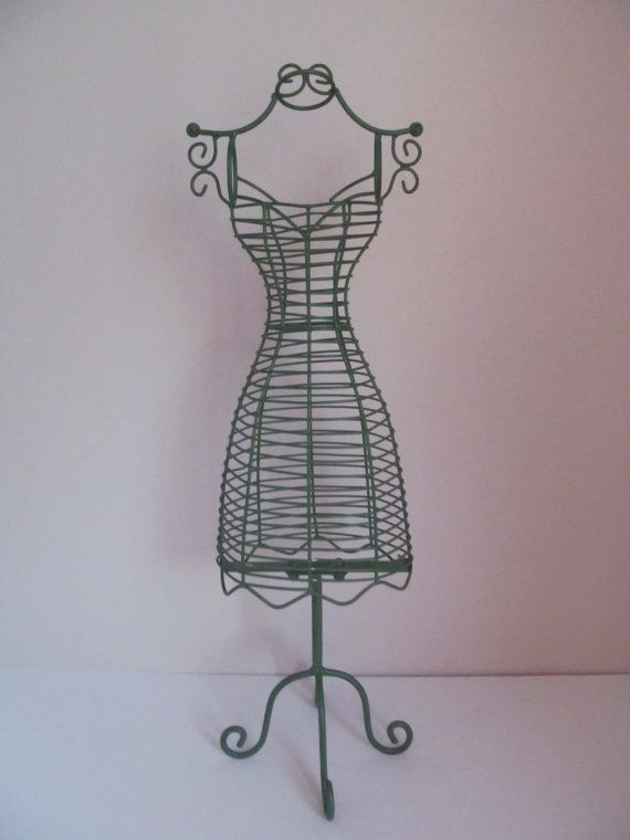 vintage green metal dress form table top mannequin | paris inspired