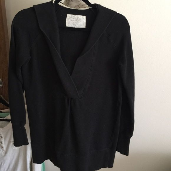 Ann Taylor loft lounge sweatshirt Some fading but no stains or holes. Longer fit. Deep vneck. Hooded LOFT Tops Sweatshirts & Hoodies