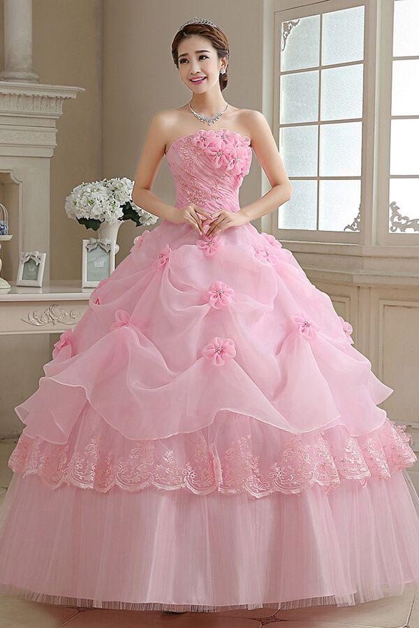 vestido de novia color rosa #wedding #dresses #pink #princess ...