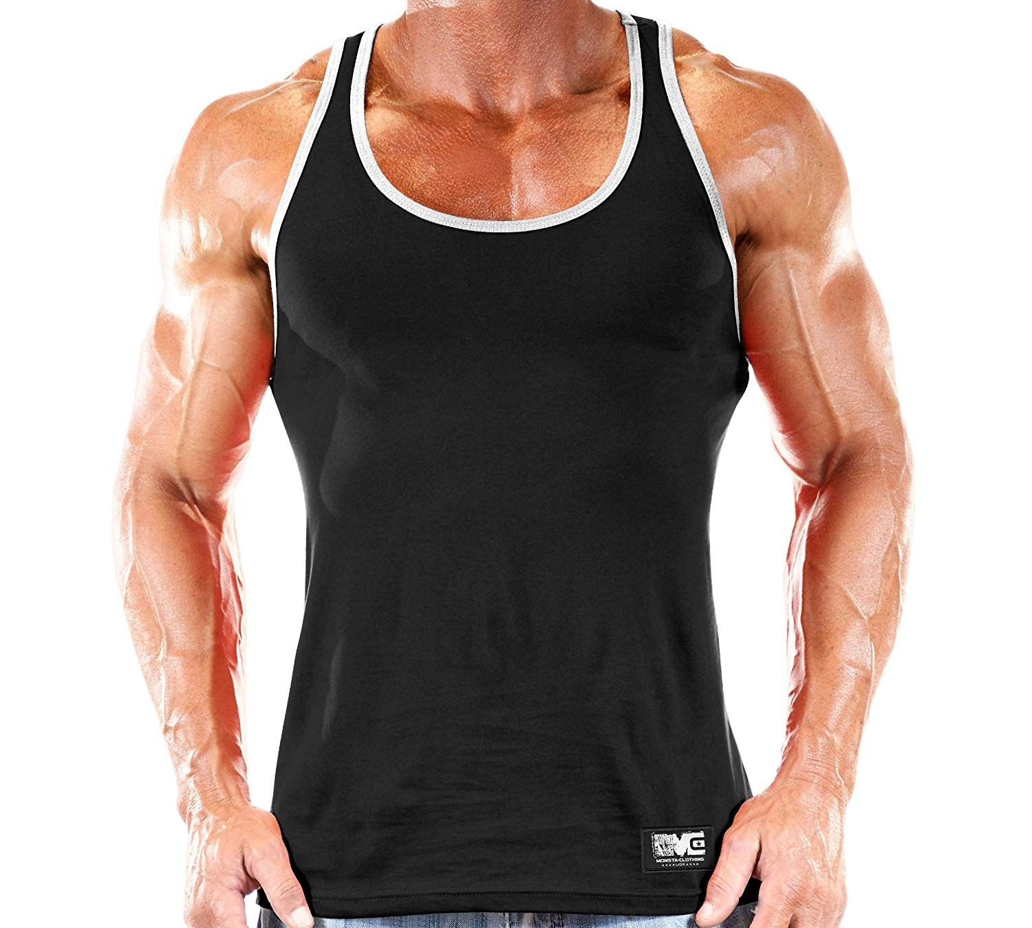 Workout Clothes Tank Top - Black/White - CZ18KG26G5Q - Sports & Fitness Clothing, Men, Shirts, Tank...