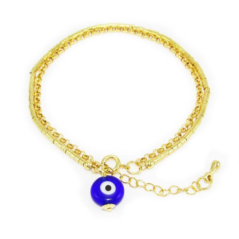 Pulseira pingente olho grego dupla com corrente e canutilhos folheada a ouro 18k