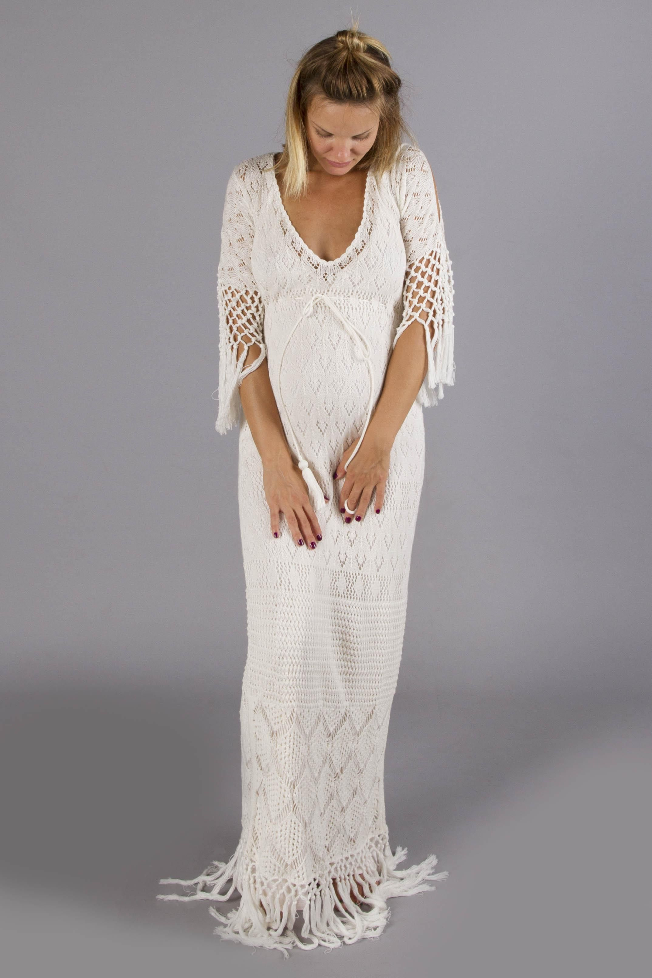 Brooke Crochet Maternity Maxi Dress Cream Baby Babb Babyshower