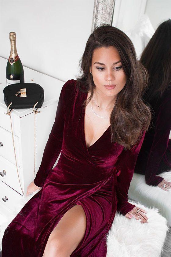 Enchant Me Burgundy Velvet Midi Wrap Dress Dresses