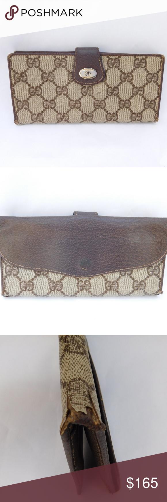 090bebb57b5 Vintage Gucci Monogram GG Canvas Bi-Fold Wallet BRAND- GUCCI COLOR- BROWN  MATERIAL