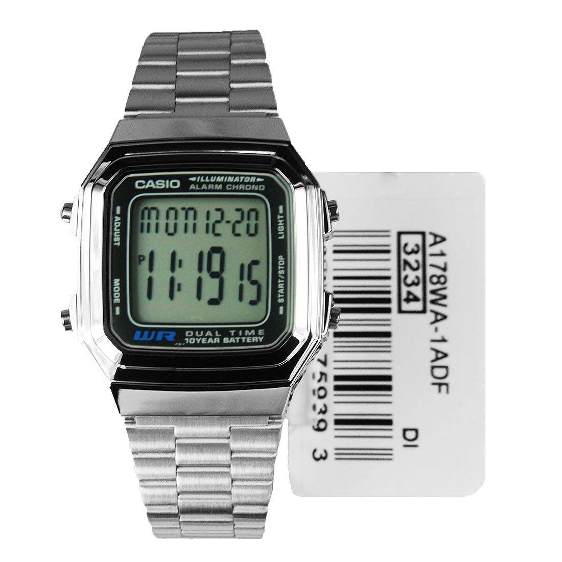 7c8fb66c2d2 Casio Sports Mens Silver Tone Watch A178WA-1A A178W