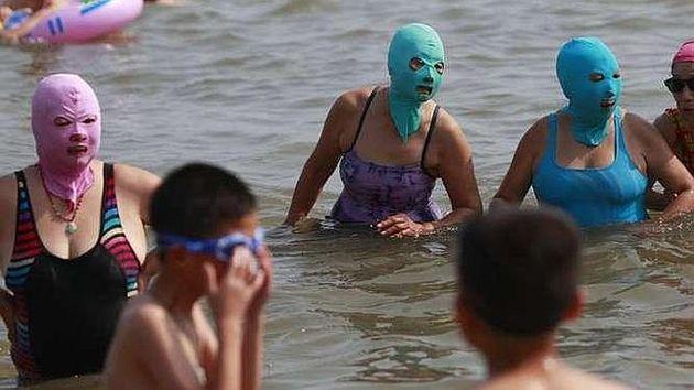 """El """"Bikini Facial"""", La Nueva Moda En China Para Protegerse De Los Rayos UV"""