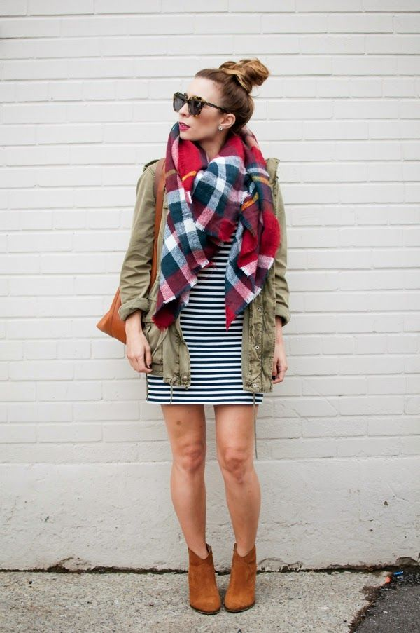 7d1c12c76f51a OOTD - Stripes and a Plaid Blanket Scarf