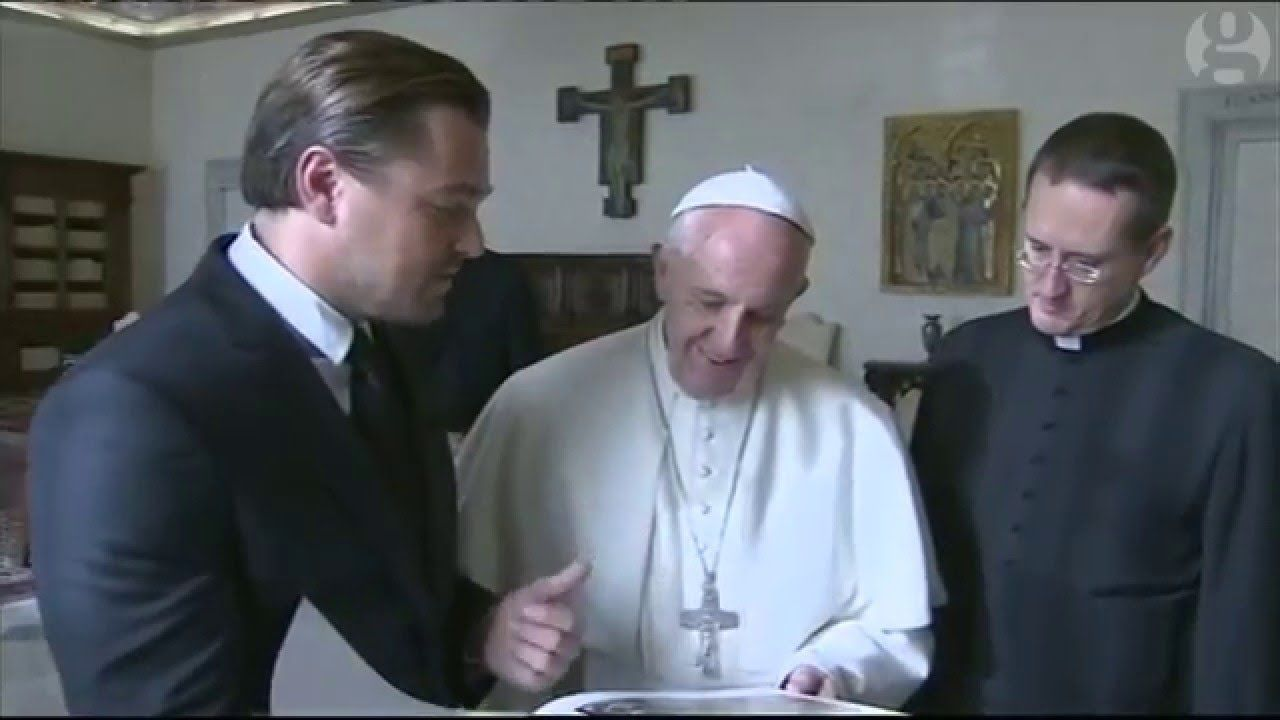 Leonardo dicaprio meets the pope flat earth news pinterest watch pope francis and leonardo dicaprio meet at the vatican m4hsunfo Choice Image