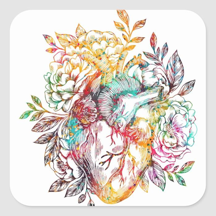 Anatomical heart with flowers square sticker | Zazzle.com