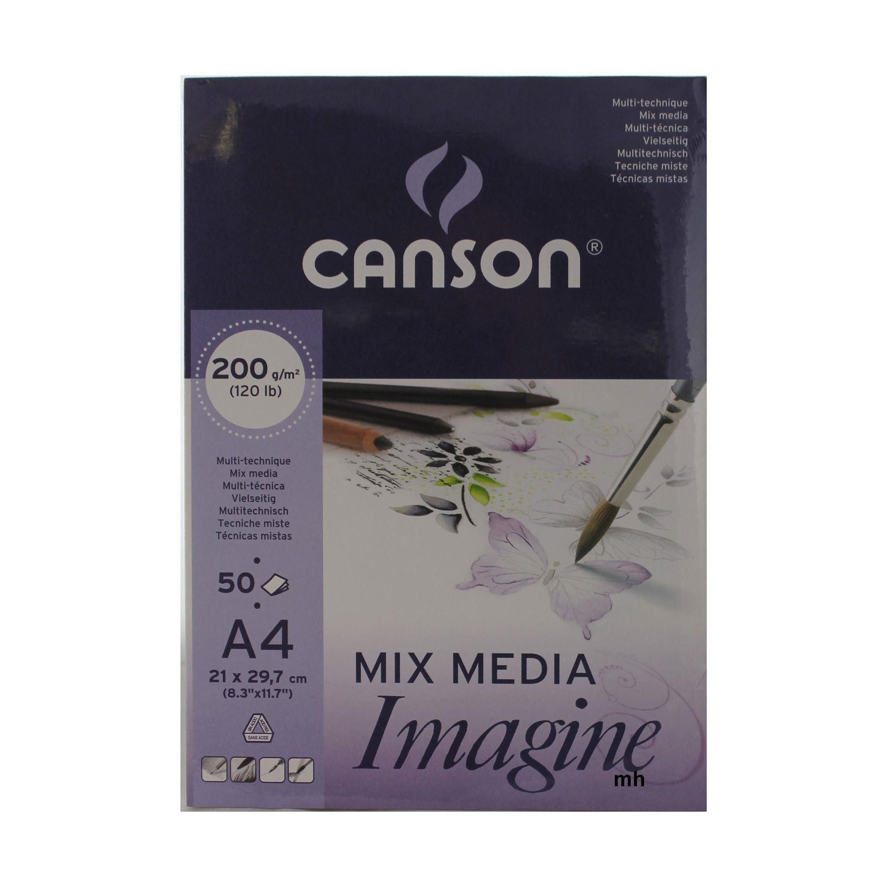 Canson Mixed Media Imagine Pad A4 200gsm 50 Sheets Artists Drawing