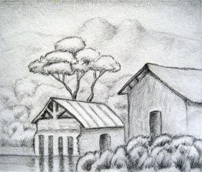 Rural House Landscape Drawing