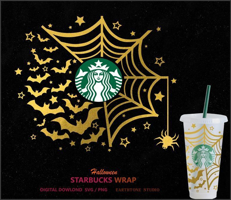 Halloween Theme Bat And Spider Full Wrap Svg For Starbucks Etsy In 2020 Cricut Halloween Halloween Cups Starbucks Halloween