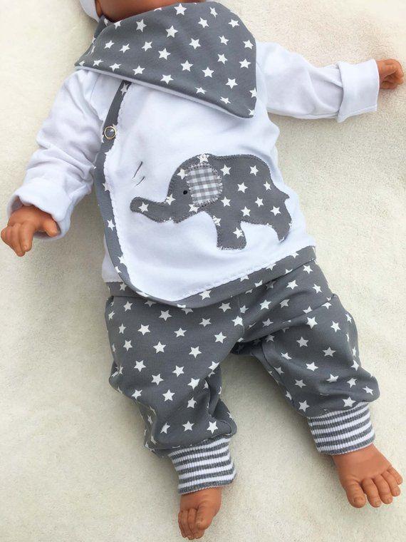 Babyset STERNCHENFANT Wickeljäckchen & Hose Set Baby Sterne hellgrau Wickelshirt Taufe handmade edel festlich mit Name individualisierbar