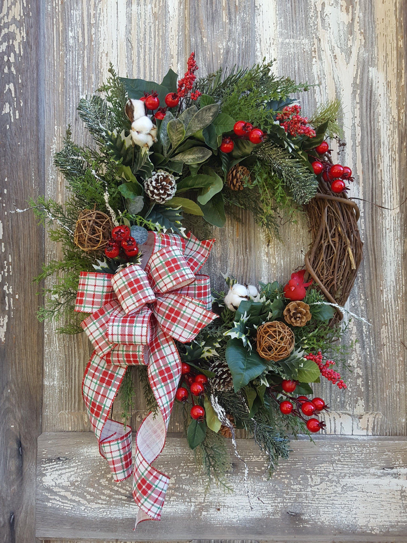 Farmhouse Christmas wreath, Christmas wreath for front