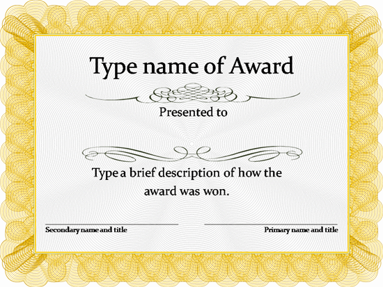 gold award certificate template more - Free Printable Blank Award Certificate Templates