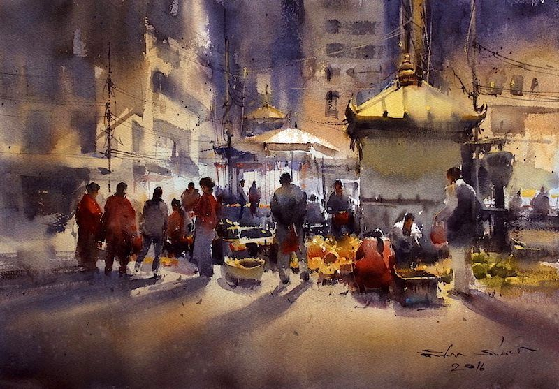 Direk Kingnok Watercolor Artist Night Market In Kathmandu Nepal
