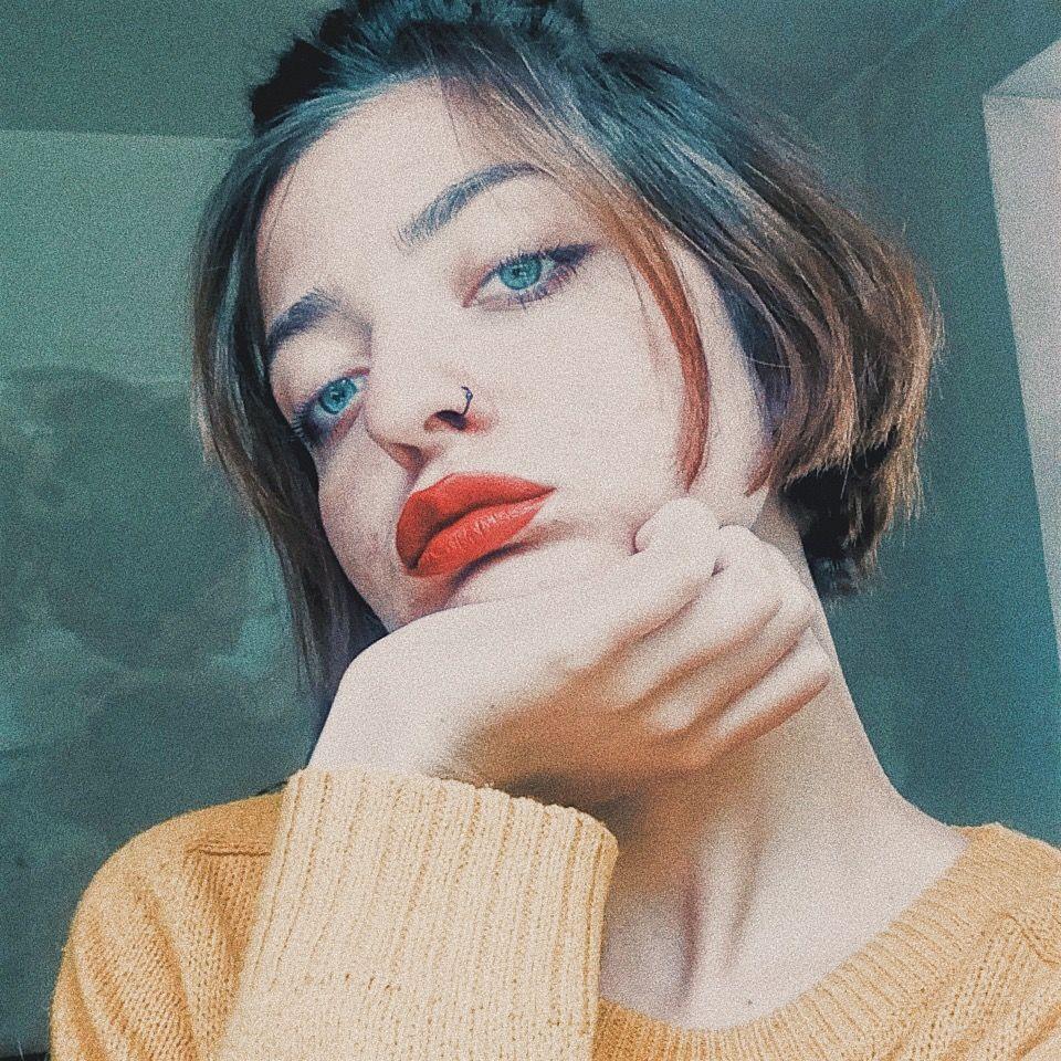 See through nose piercing  Red lips redlips vogue czechgirl makeup piercing blueeyes