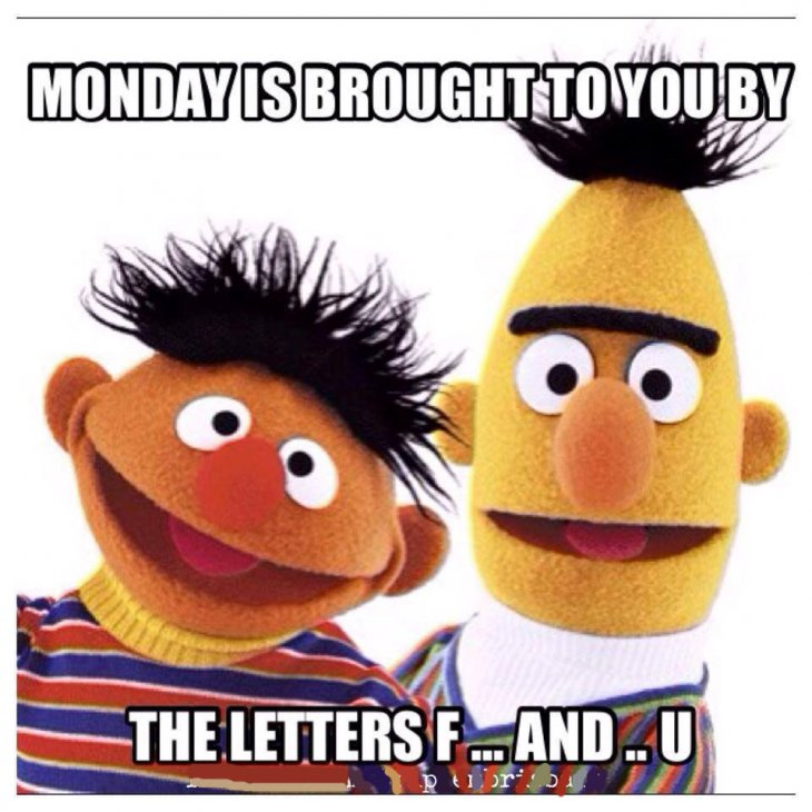 Funny Work Monday Meme : Monday is brought to you by the letters f and u