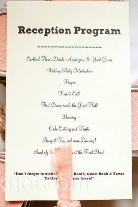 Possible reception program Yard games wedding, Wedding