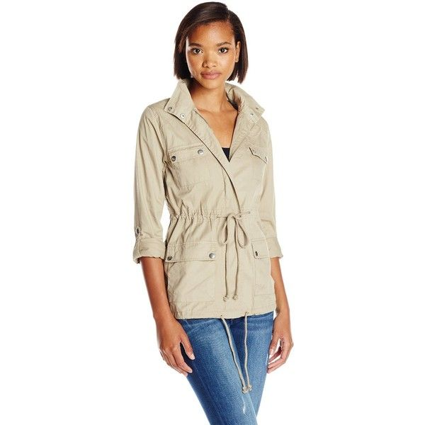Blu Pepper Women's Military Jacket with Crochet Back Detail ($66) ❤ liked on Polyvore