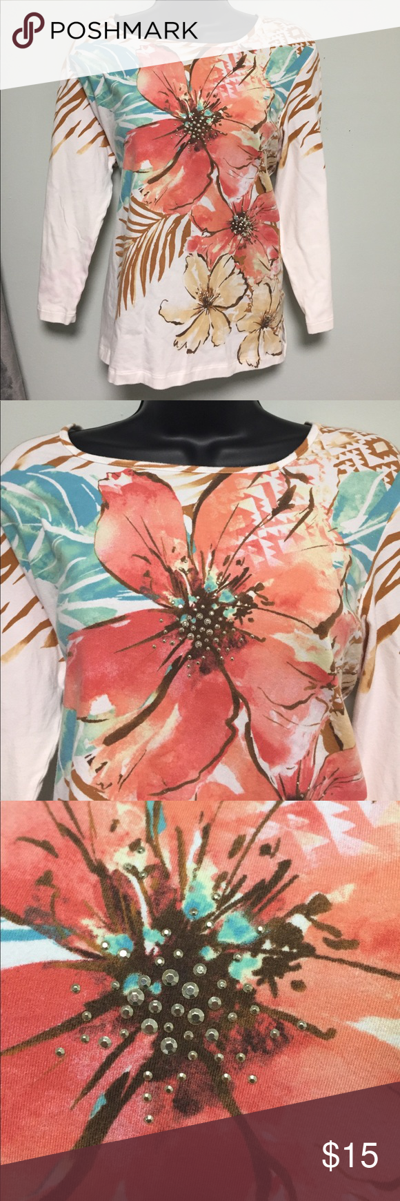Amazing top shirt Alfred Dunner Gorgeous ivory shirt with floral and animal Print. In perfect condition Alfred Dunner Tops