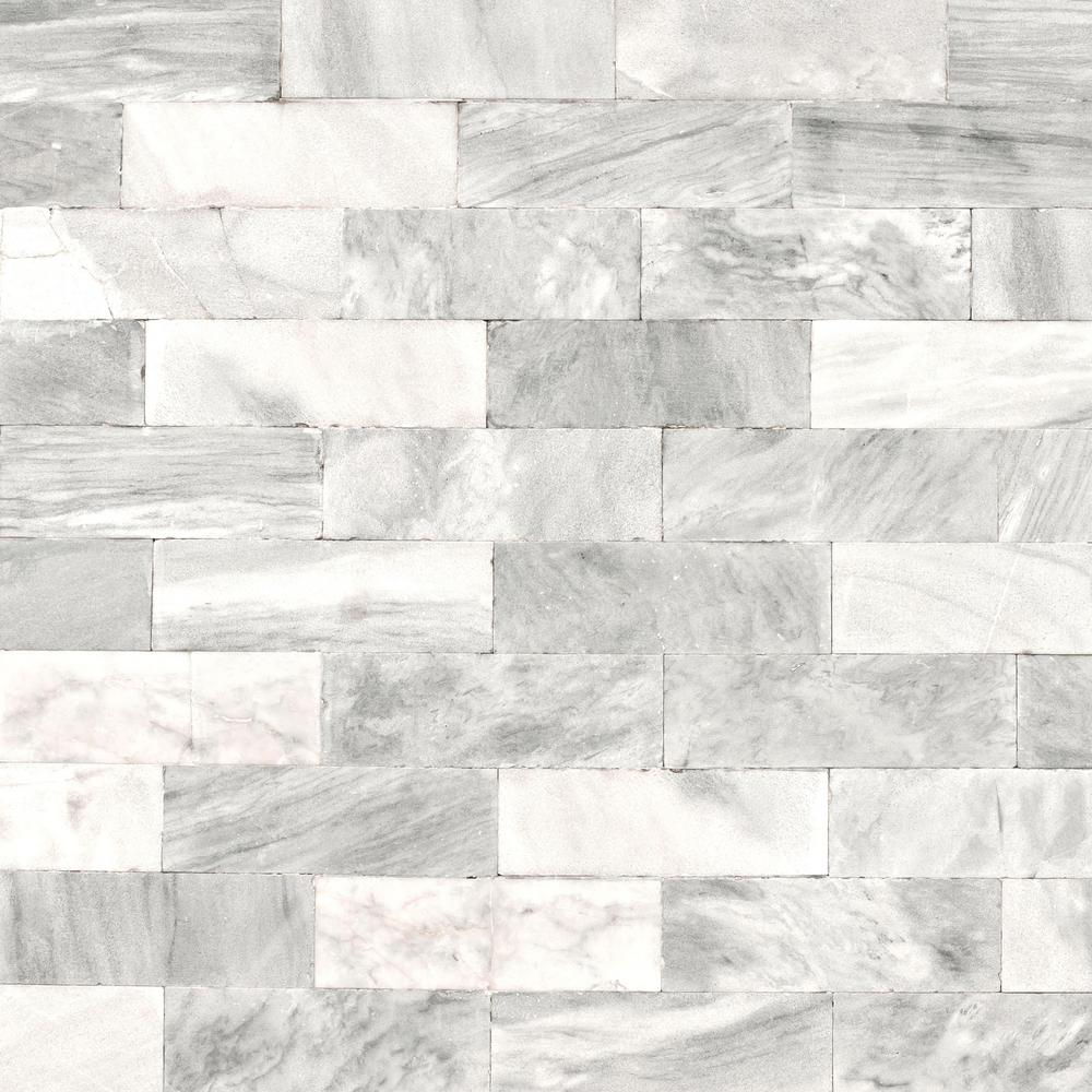 Graham & Brown Strata Herringbone Marble Tile White