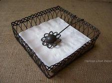 Wire Flower Square Napkin Holder