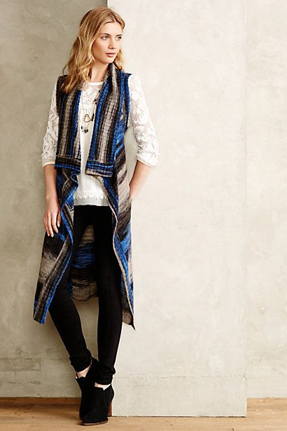 Loving the ultra-long cardigan vest look. Spacedye Sweater Vest ...