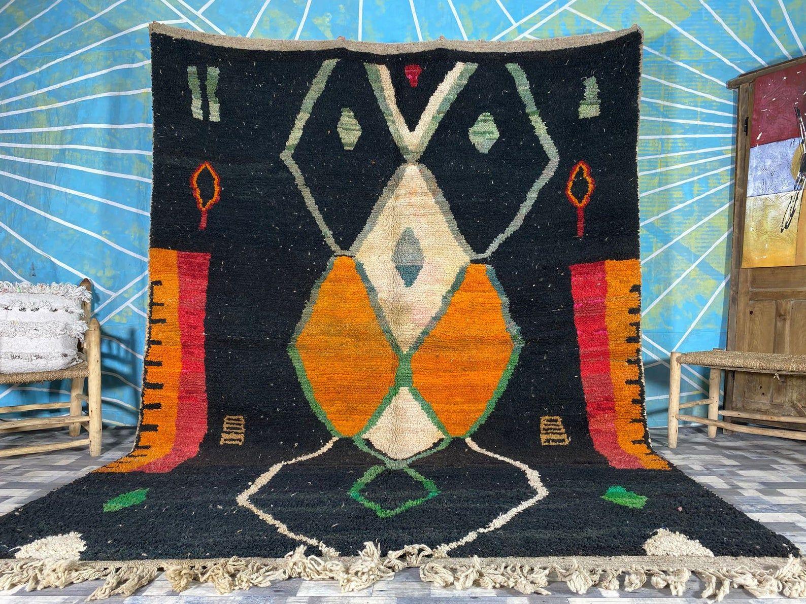 8x11 antique Moroccan rug Boujaad Berber design Moroccan Berber Carpet Very Soft Wool