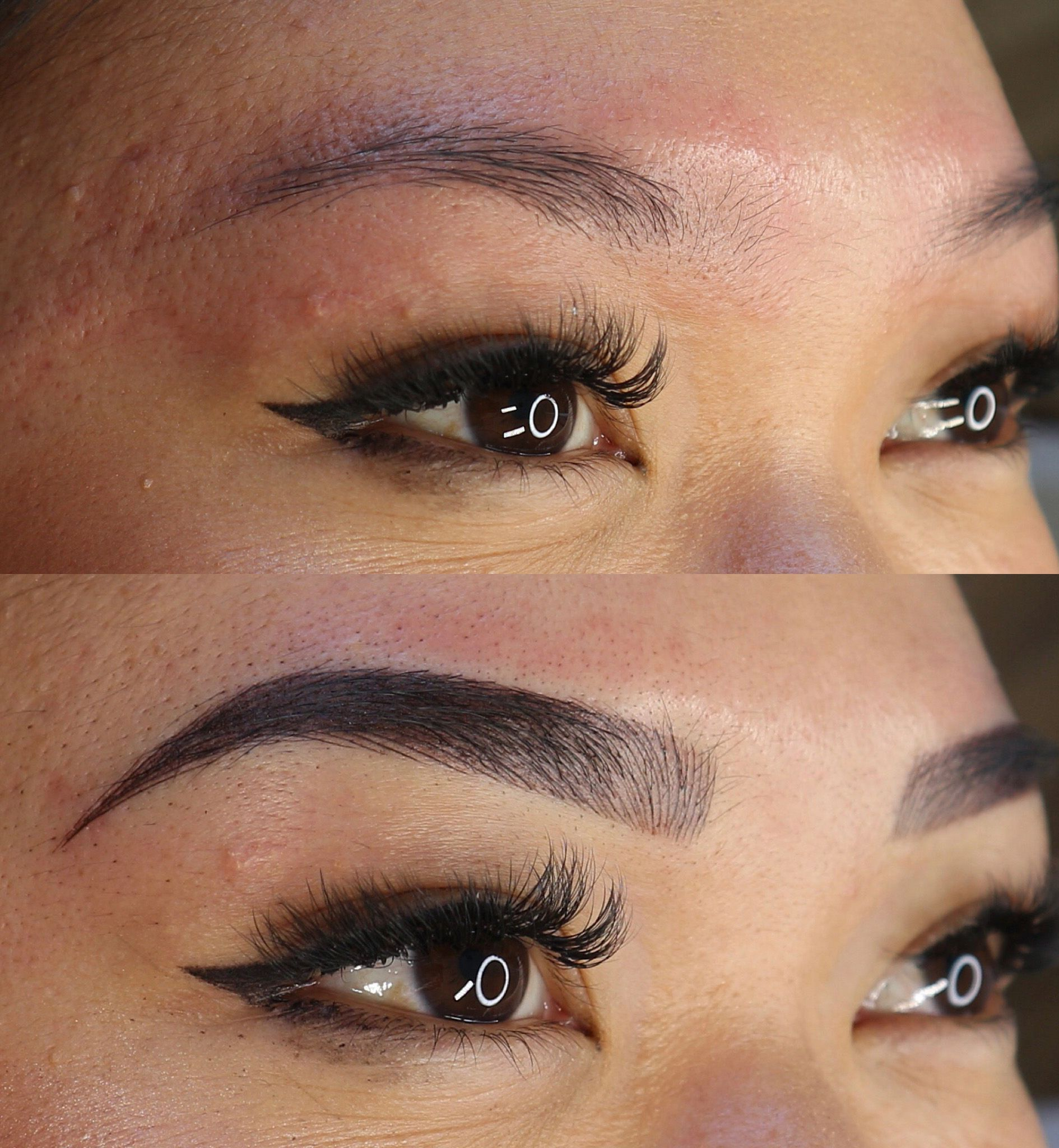 Before and after photo of combo brows from beautiful brow