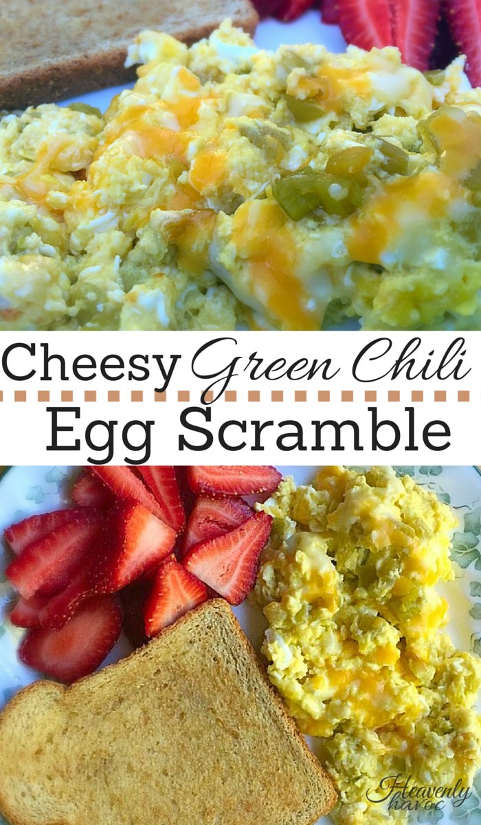 This Cheesy Green Chili Egg Scramble is one of my favorite recipes for breakfast! Omit the side of toast, and you have the perfect  gluten free/low carb meal!