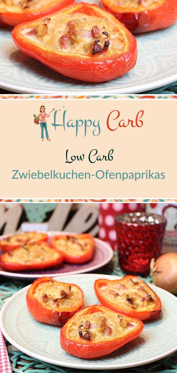 Zwiebelkuchen-Ofenpaprikas - Happy Carb Rezepte