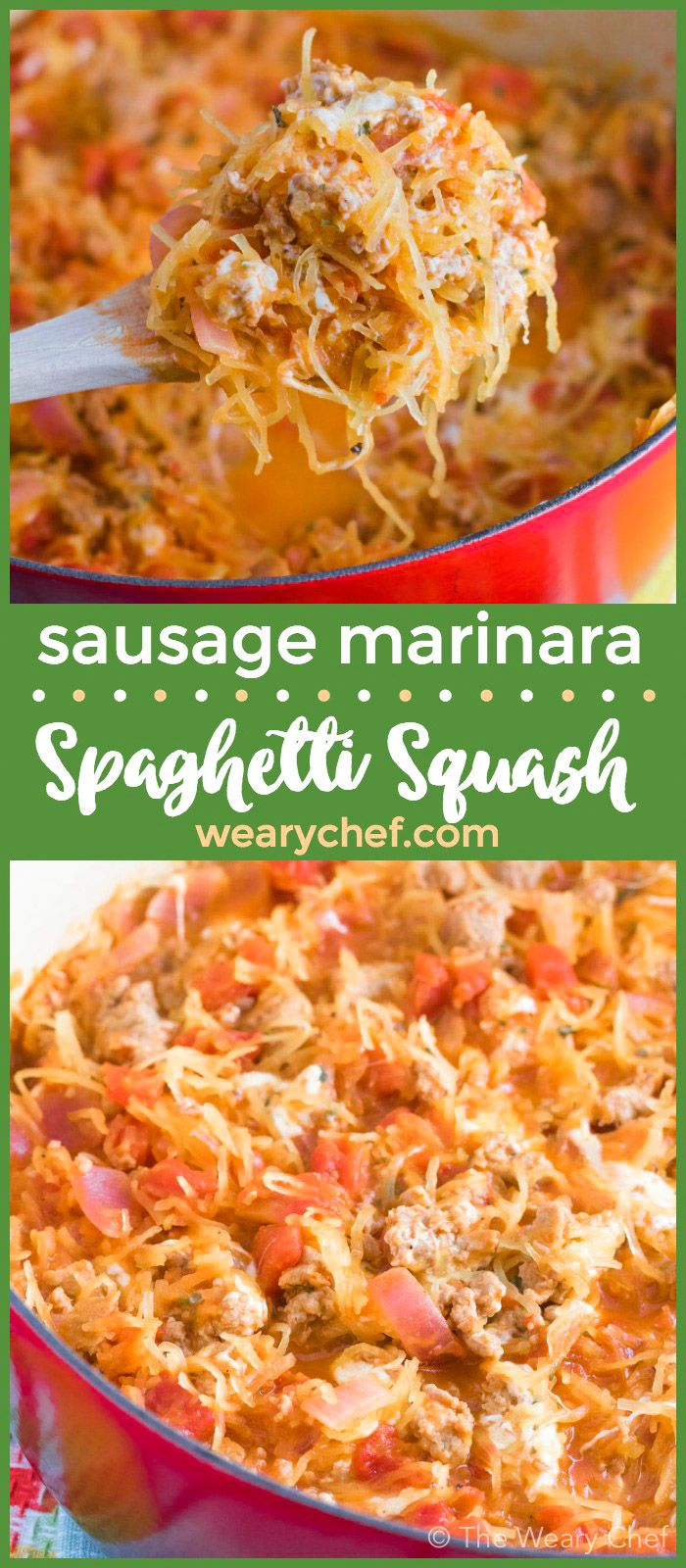 This easy skillet spaghetti squash marinara is a great low carb dinner recipe!