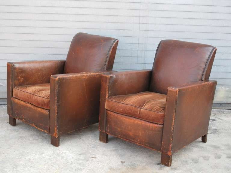 Captivating Pair Of French Deco Leather Club Chairs At 1stdibs