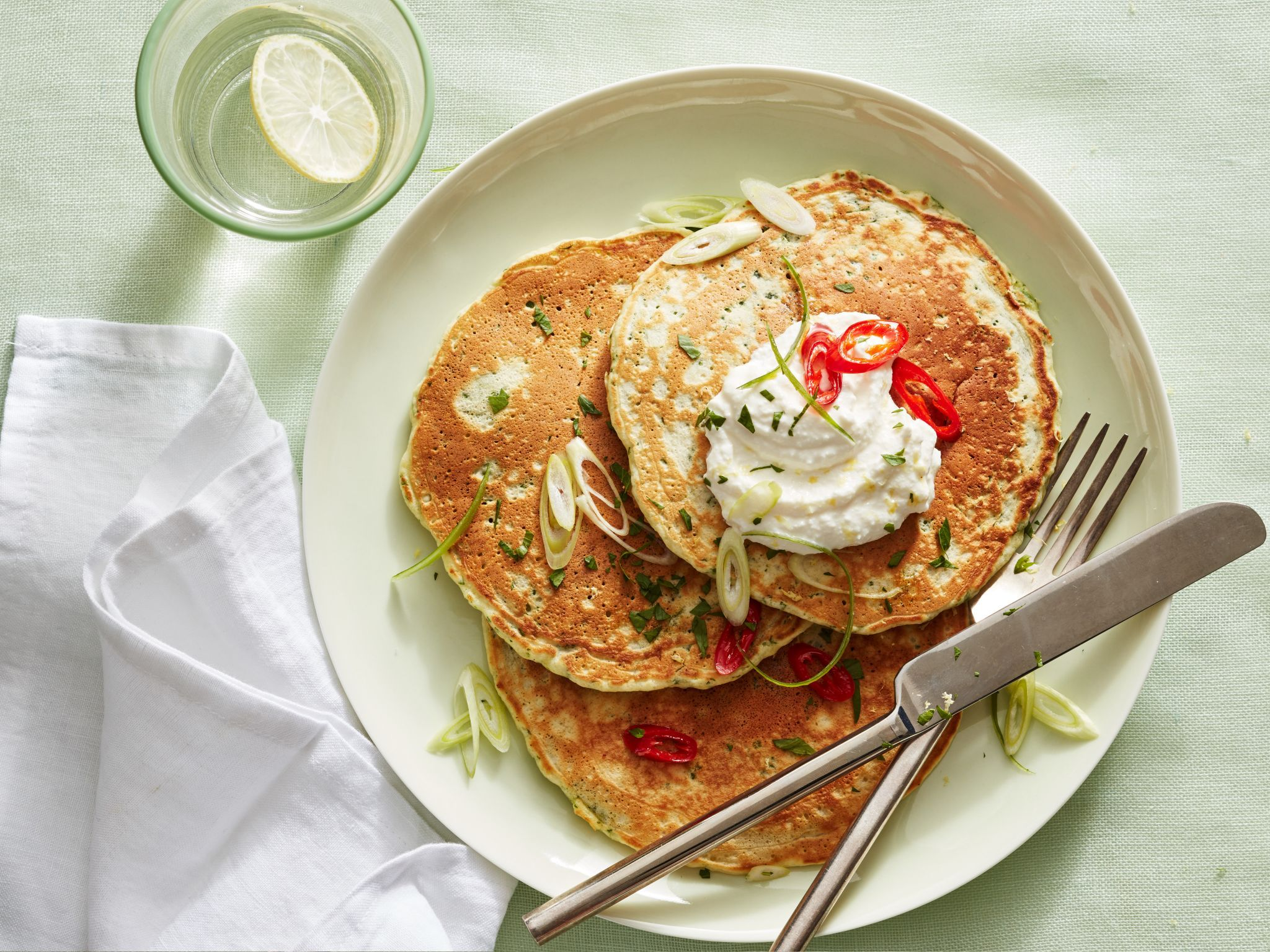 Green herb pancakes with ricotta and red chile oil recipe dishes forumfinder Images