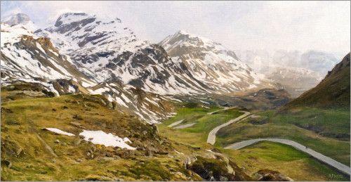 Berglandschaft am Julier Pass, impressionistischer Stil:  Poster & Kunstdruck von Olaf Protze