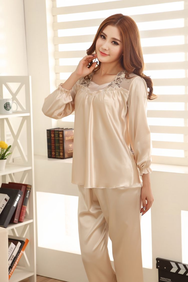 a7f00ad2ce25 Pajamas Women Long Sleeve Silk Satin Stitch Sleepwear Nightwear Women s  Lounge Pajama Sets Ladys Silk Pajamas Plus Size 3XL   Nice plus size  clothing shop ...