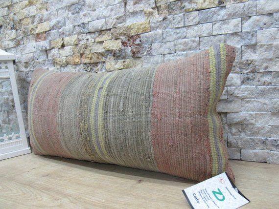 Turkish pillow 10x20 home decor pillow boho pillow aztec pillow handwoven pillow case 10x20 striped cushion throw pillow code 543