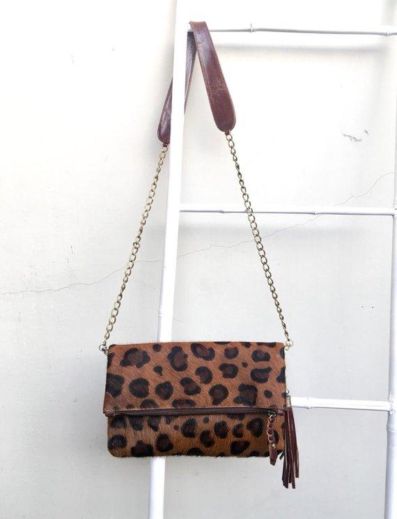bc98a35034ba Leopard Cowhide Crossbody Bag, Cowhide Crossbody, Leopard Cowhide Clutch, Animal  Print Crossbody Foldover