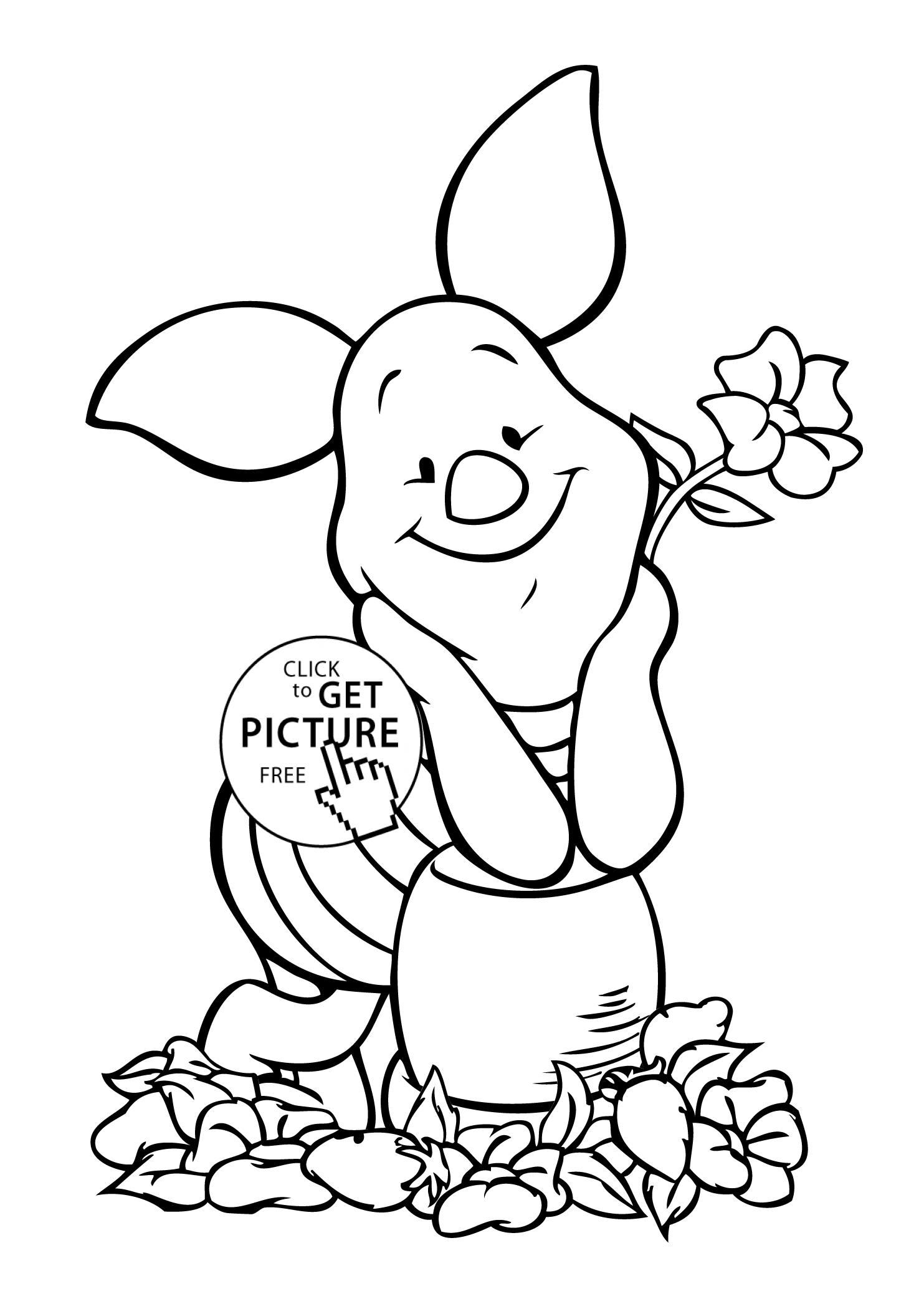 Winnie Pooh Piglet Coloring Page For Kids Free Printable