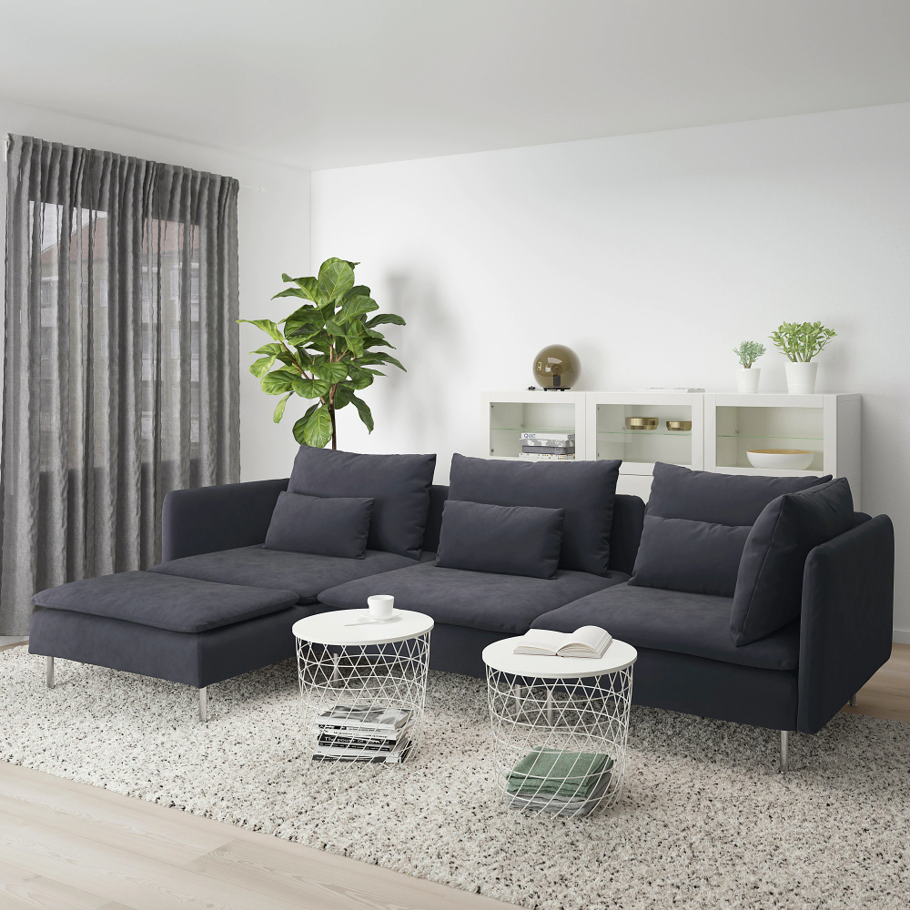 Soderhamn Sectional 4 Seat With Chaise Samsta Dark Gray Ikea Dark Grey Couch Living Room Grey Couch Living Room Comfortable Sofa