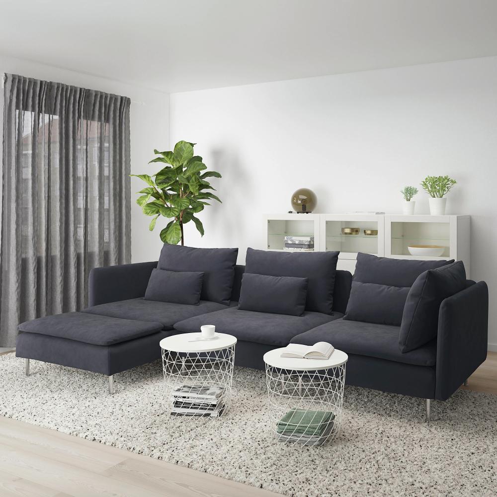 Soderhamn Sectional 4 Seat With Chaise Samsta Dark Gray Ikea