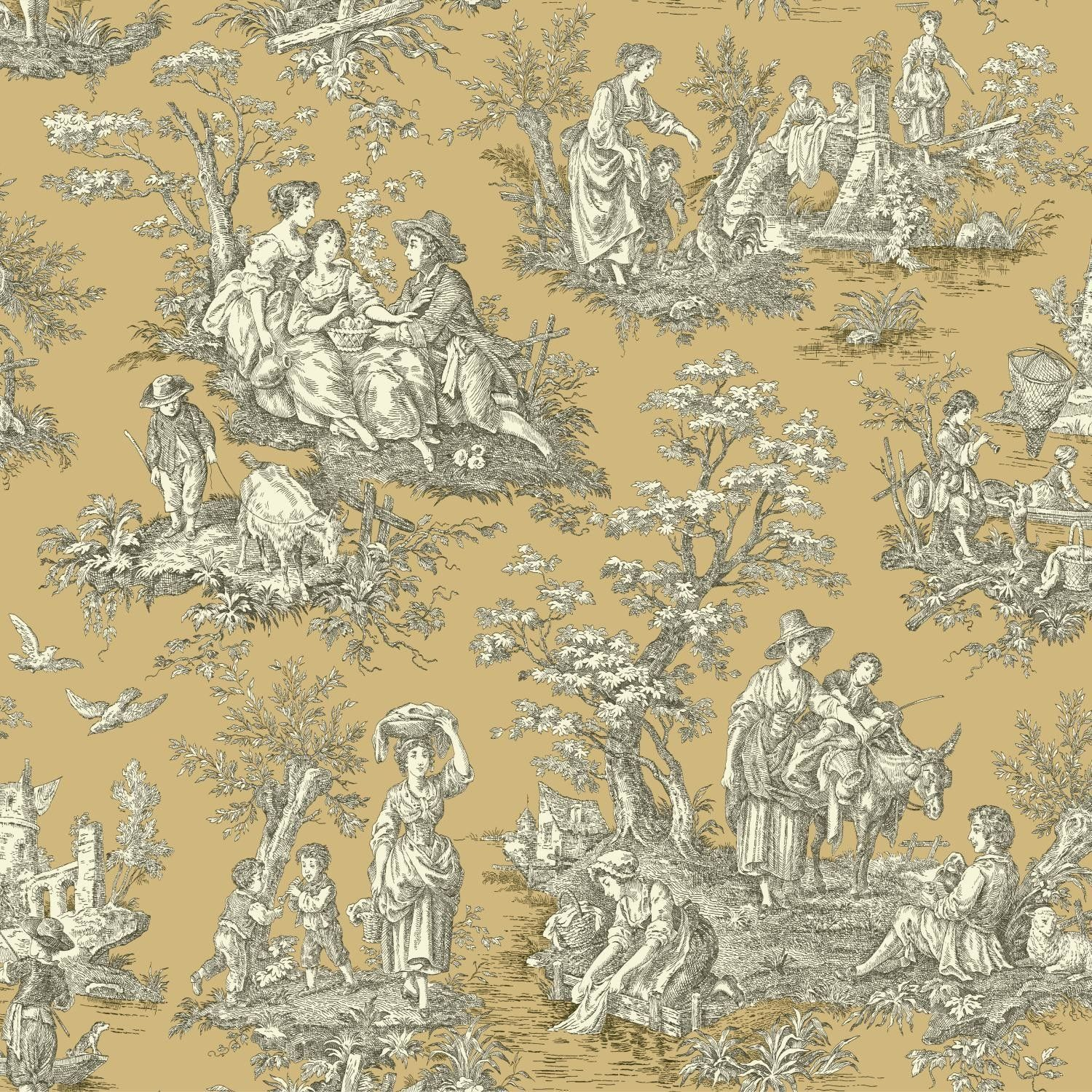 """Waverly Country Life 33' x 20.5"""" Toile Wallpaper"""